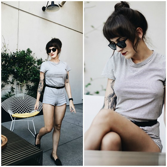 Kiana Mc - American Apparel Romper, Warby Parker Sunnies - Them stripes