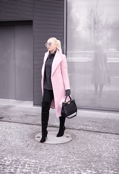 Vanessa Kandzia - Over The Knee Boots, Sheinside Coat - PINK LONG COAT