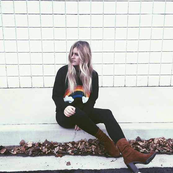 Chandler Roberson - Forever 21 Rainbow Sweater, Forever 21 High Rise Booties - Rainbow Sweater