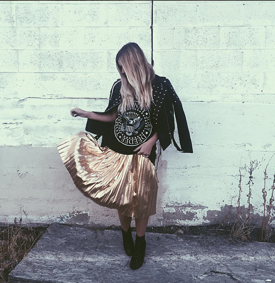 Chandler Roberson - Old Navy Ramones Tee, Boohoo Gold Pleated Midi Skirt, Asos Studded Booties, Forever 21 Studded Leather Jacket - Rock N Roll N Gold