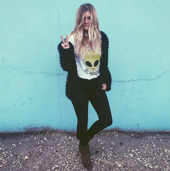 Chandler Roberson - Be Here Now Clothing Black Faux Fur Jacket, Forever 21 Alien Choker Tee, Boohoo Faux Leather Leggins, Hope Ave. Olive Booties - I Don't Believe In Humans