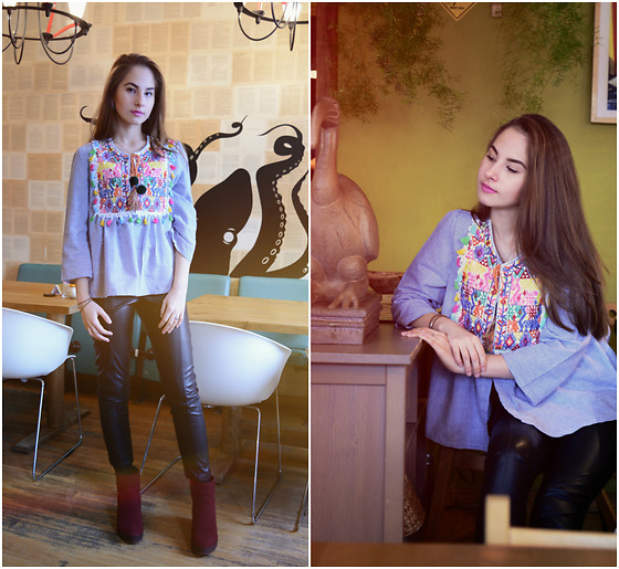 Mayo Wo - Romwe Rivet Button Shirt, Romwe Candy Color Skull Necklace, Choies Fluo Plastic Skirt