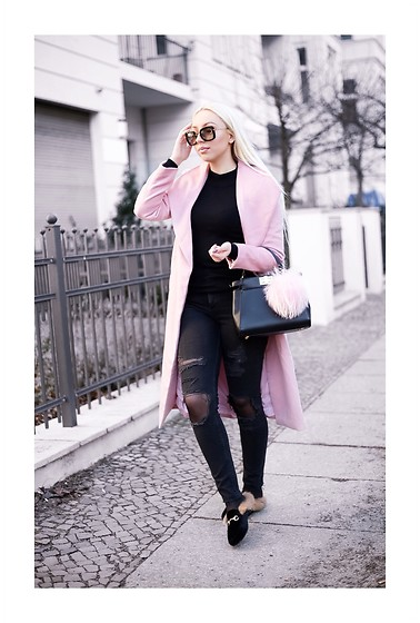 Vanessa Kandzia - Sheinside Coat, Gucci Shoes - PINK COAT & RIPPED JEANS