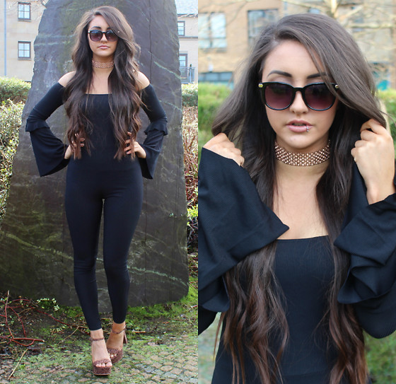 Terri L - Missguided Jumpsuit, River Island Necklace - MISSGUIDED BLACK JUMPSUIT