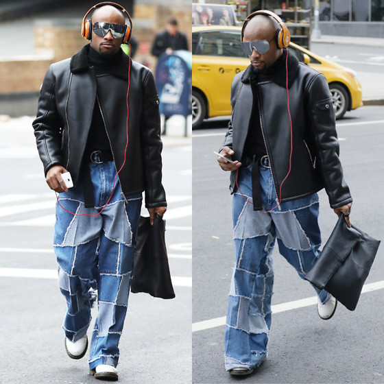 Askia Abdull - Asos Leather Jacket, Beatsbydre Headphones, Topman Bag, Dr. Martens Boots, 50 Shades Of Celebrity - #NYFWM DAY2