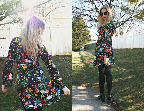 BG by Christina L - Stylewe Floral Print Bell Sleeve Dress - 2.6.17