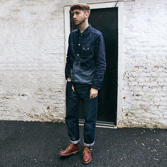 David Whitfield - Nigel Cabourn Utility Shirt Jacket, Levi's® Lvc 1966 501 Jeans, Dr. Martens Church Boot - Texas Tuxedo - Follow me on instagram @dvd_ian