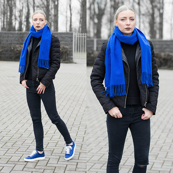Nena F. - The Kooples Jacket, Karl Lagerfeld Sneakers - For the love of cobalt blue