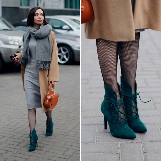 Sonya Karamazova - Acne Studios Scarf, Bershka Dress - EMERALD BOOTIES