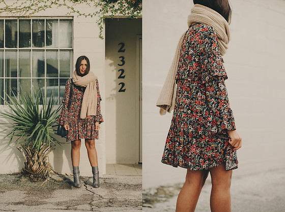 Nydia Enid - Zara Floral Dress, Zara Blue Leather Ankle Bootts - Winter Florals