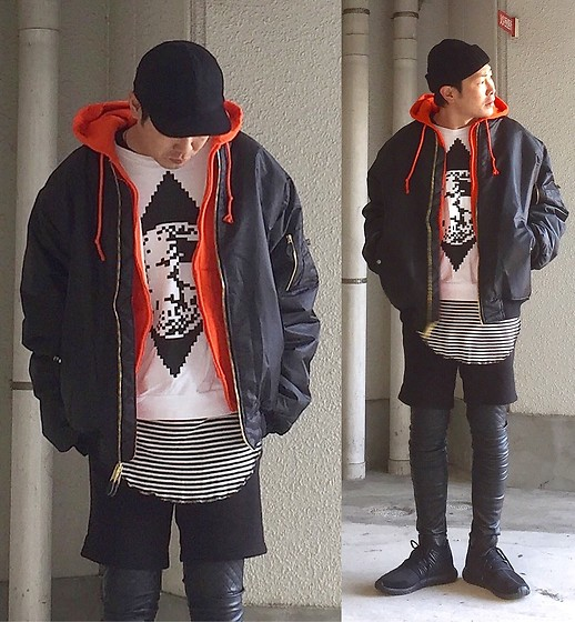 ★masaki★ - Rohw Master Product Watch Cap, Newyork Hat Wool Cap, Rothco 6xl Bomber Jacket, Camber 90's Deadstock Hoodie, H&M Pu Leater Pants, Adidas Tubler - Japanese trash style 90