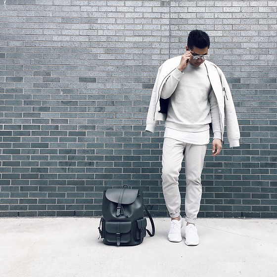 ALLEN M - H&M David Beckham Collection Sweater, H&M Jacket, Nike Runners, Aldo Backpack - OFF WHITE EVERYTHING // IG: @iamALLENation