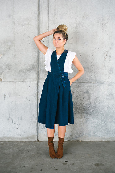 Chandler Roberson - Be Here Now Denim Pinafore Dress, Old Navy Flutter Sleeve Top, Forever 21 Cognac Sock Boots - Darling Denim Pinafore Dress