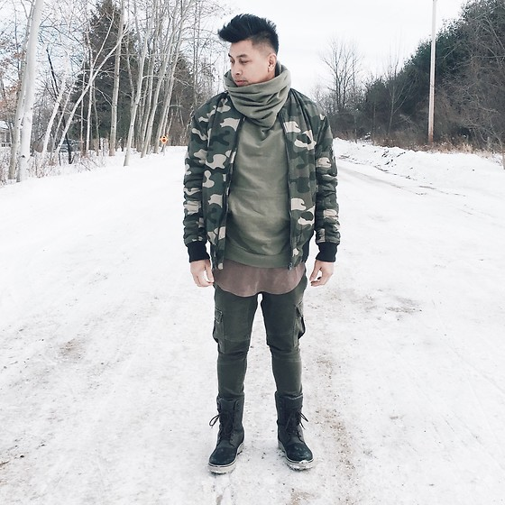 ALLEN M - Urban Planet Funnel Hoodie, H&M Camo Bomber, H&M Longline Shirt, Zara Skinny Cargo, Call It Spring Winter/ Snow Boots - CAMO STANDOUT // IG: @iamALLENation