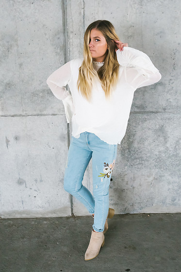 Chandler Roberson - H&M White Flare Sleeve Top, Be Here Now Floral Stitch Jeans, Be Here Now Booties In Buff - Floral Stitch Jeans
