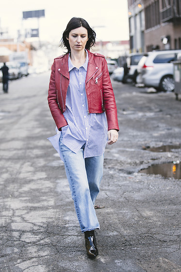 URBAN CREATIVI-TEA - Sandro Leather Jacket, Zara Shirt, Rag & Bone Jeans, Balenciaga Shoes - 21st Street LIC / urbancreativi-tea