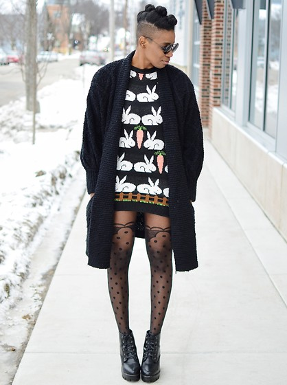 Sushanna M. - Thrifted Vintage Black Duster Cardigan, Rabbits & Carrots Sweater, Sheer Polka Dot Tights, Black Platform Ankle Boots - Too Much Of A Good Thing