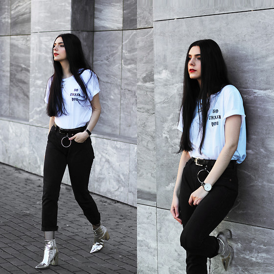 "CLAUDIA Holynights - Na Kd No Thank You Tee, New Look Mirror Boots, The 5th Watch - ""No Thank You"""