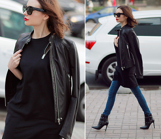 Sonya Karamazova - Diesel Leather Jacket - DRESS OVER JEANS