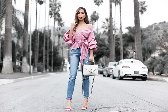 Jessi Malay - Storets Vivian Ruched Sleeve Top, 3x1 Straight Crop Jeans, Tony Bianco Kashmir Suede Heel, Saint Laurent College Leather Satchel - More Ruffles for Spring
