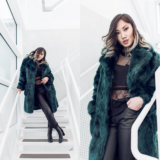Louise Xin - Asos Green Faux Fur Coat, Fisnhnet Stockings, Isabel Marant Lace Up Leather Pants, River Island Leather Boots - Green fur and White stairs