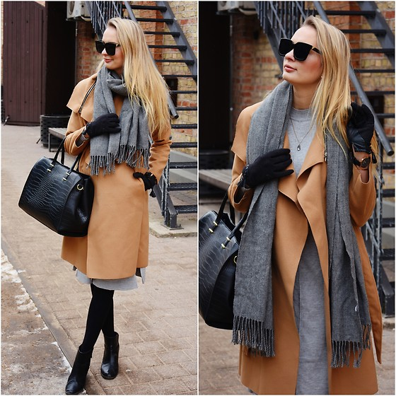 Madara L - Zaful Camel Coat, H&M Grey Sweater Dress, Lovelywholesale Square Sunglasses - Effortless city outfit