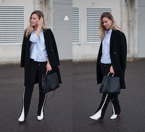 Jules V - H&M Black Coat, Only Striped Shirt, Mango Tote Bag, Vanilia Pull On Trousers, Zara White Ankle Boots - Going Athleisure