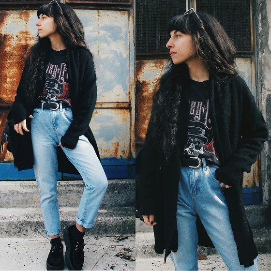 Vanessa Rossi - Forever 21 Mom Jeans, Emp Creepers, Emp T Shirt, Shein Cardigan - Girls,Girls,Girls