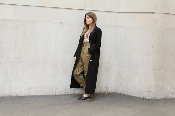 Angharad Jones - Alexander Mcqueen Coat, & Other Stories Jumper, Mango Trousers, Asos Shoes - Khaki Trousers