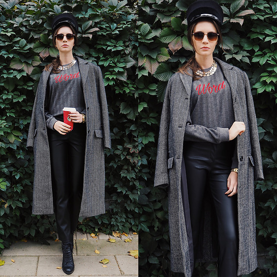 Anna Brain - Coat, Leather Pants, Marc By Jacobs Watch, Marc By Jacobs Hat, Sunglasses - MONDAY'S COFFEE
