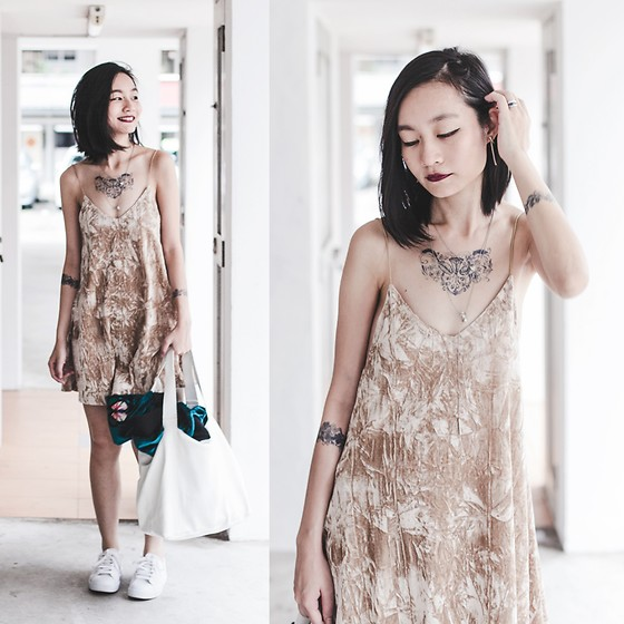 Ren Rong - Shein Crushed Velvet Dress, Inkbox Tattoos - Inked Up