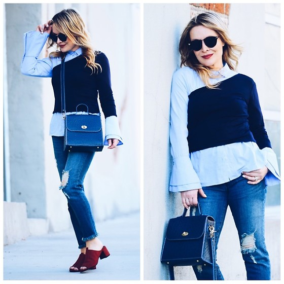 Zia Domic - Jill Stuart One Shoulder Top, Sts Denim Frayed Hem Jeans, Zara Mules - One Shoulder