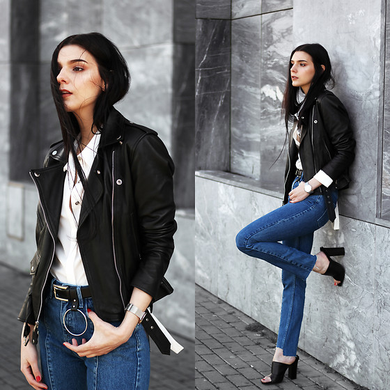 CLAUDIA Holynights - Leather Skin Jacket, Lord Timepieces Watch, Na Kd Jeans, Ego Mules - Panel Jeans