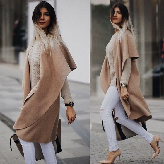 NigarN - Zara Beige Long Blazer, Calzedonia White Jeans, Gianvito Rossi Plexi Shoes, Zara Beige Sweater - Fifty shades lighter