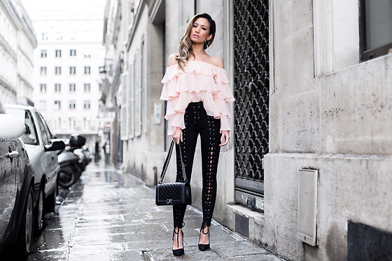 Jessi Malay - Lovers + Friends Zayn Top, Lpa X Revolve Pant 489, Chanel Medium Boy Bag, Miu Suede Pumps, Tony Bianco Loop Drop Earrings - Laced and Ruffled