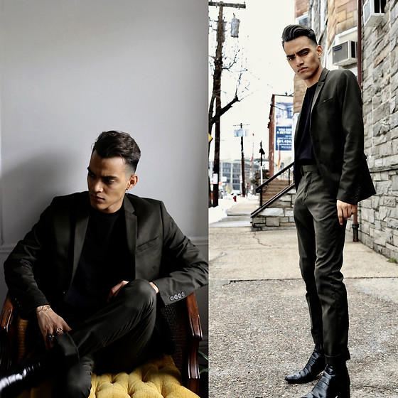 Alejandro Cantoral - & Other Stories Gold Bracelet, Zara Leather Boots, H&M Green Suit - 53 Miles West of Venus