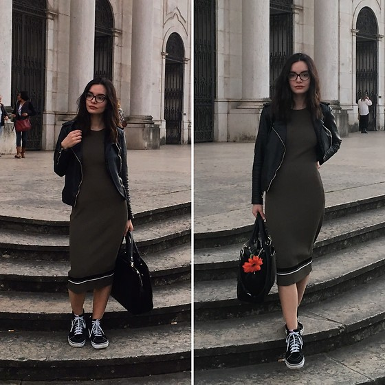 Patrícia Vieira - Mango Dress, Mango Jacket, Vans Sneakers Boots, Parfois Brief Bag - Women's day