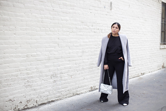 Yuka I. - Black Sweater, Wide Leg Trousers, Coat, Silver Loafers, Silver Bag - Extra long, extra wide