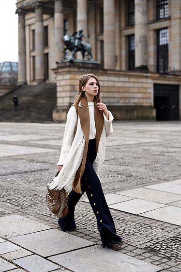 Swantje Sömmer | OffwhiteSwan - Gucci Bag, Isabel Marant Boots - Camel Vest, Palazzo Pants & Gucci Monogram Bag