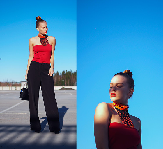 Jasmin Valta - 2nd Hand Orange Choker, 2nd Hand Tube Top, 2nd Hand Pants, Lumi Accessories Bag, Zara Shoes - TUBE TOP AND CHOKER