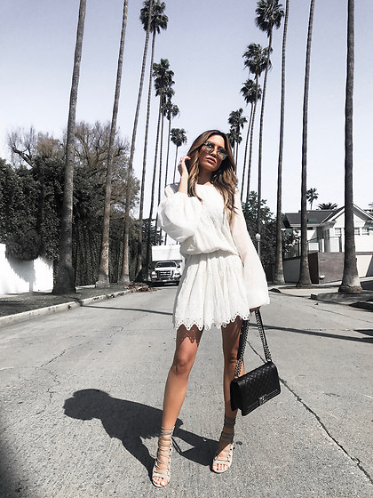 Jessi Malay - Magali Pascal Harmony Dress, Chanel Medium Quilted Boy Bag, Aquazurra Amazon Lace Up Sandals, Dita Talon Two Sunglasses - California Dreamin: The Perfect LWD