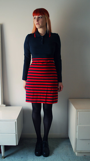 Alphie LaFray - Dangerfield Navy Striped Dress - This is what she does and this is what she is
