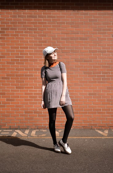 Grace Chapek - Dr. Martens Oxfords, H&M Gingham Dress, American Apparel Mock Neck Tee - Bury Me in Gingham