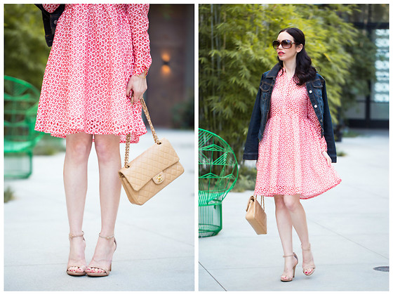 Lisa Valerie Morgan - Metisu Dress, Chanel Bag, Steve Madden Sandals, Anthropologie Jacket - Metisu Red Eyelet Dress