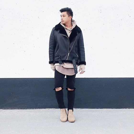 ALLEN M - Zara Jacket, Forever 21 Hoodie, H&M Scoop Short, Zara Distressed Jeans, Call It Spring Chelsea Boots - HELLO APRIL // IG: @iamALLENation