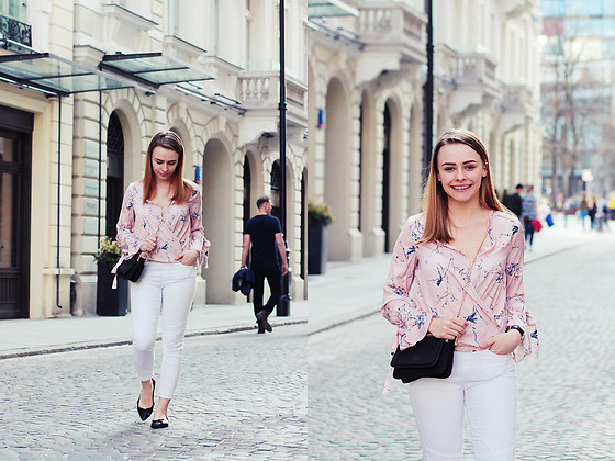 Marta S. - Romwe Pin Blouse, White Pants, H&M Black Bag, Franco Sarto Black Shoes, Daniel Wellington Black Watch - Powder pink blouse