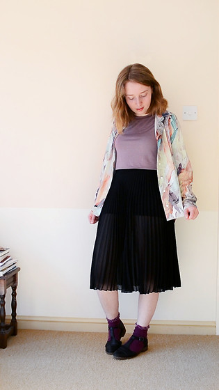 Jasmine - H&M Floral Shirt, Charity Shop Black Pleated Skirt - Alternative Florals