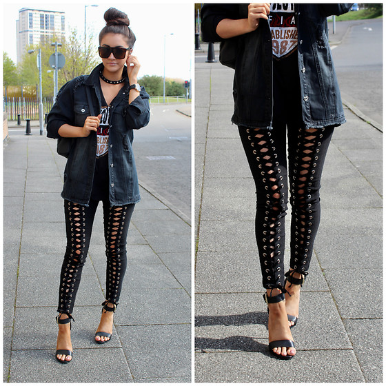 Terri L - Shein Trousers, Missguided Jacket, River Island Shoes - SHEIN LACE UP