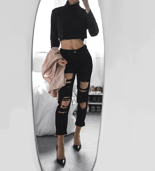 latest discount popular stores excellent quality Tia Mcintosh - Boohoo Black Ripped Mom Jeans, Black ...
