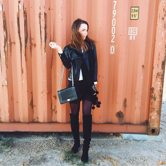 Kate Kamsa - Mohito Black Leather Jacket, Tk Maxx Long Black Boots - Hey wind, lets be friends